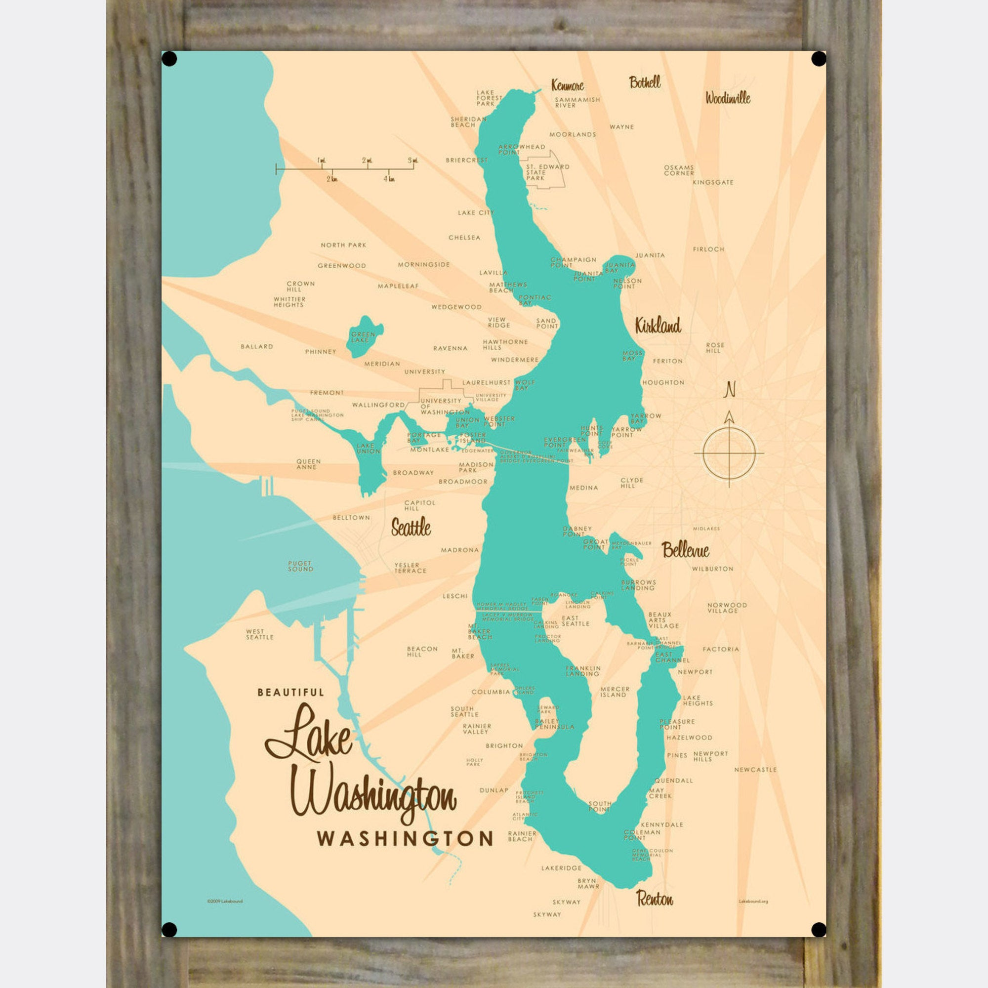 Lake Washington Washington, Wood-Mounted Metal Sign Map Art