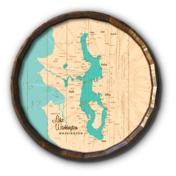 Lake Washington Washington, Rustic Barrel End Map Art