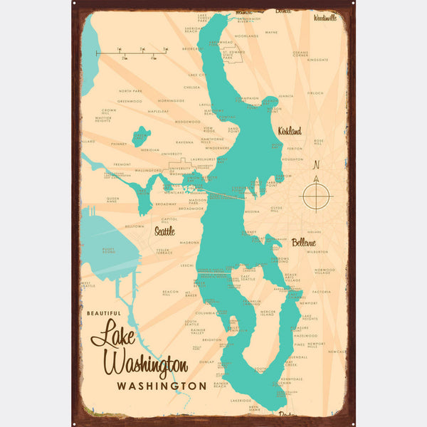Lake Washington Washington, Rustic Metal Sign Map Art