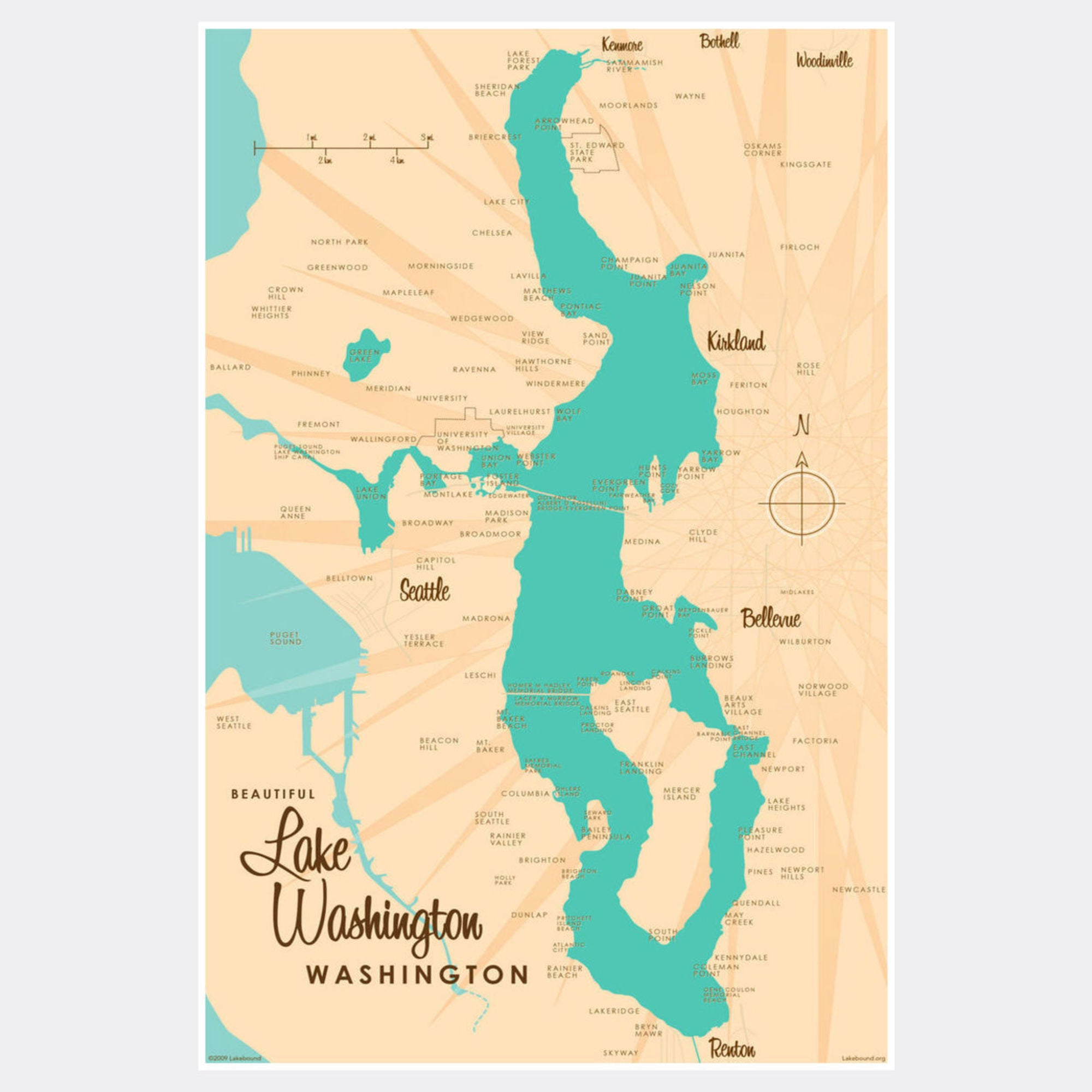 Lake Washington Washington, Paper Print