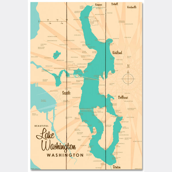 Lake Washington Washington, Wood Sign Map Art
