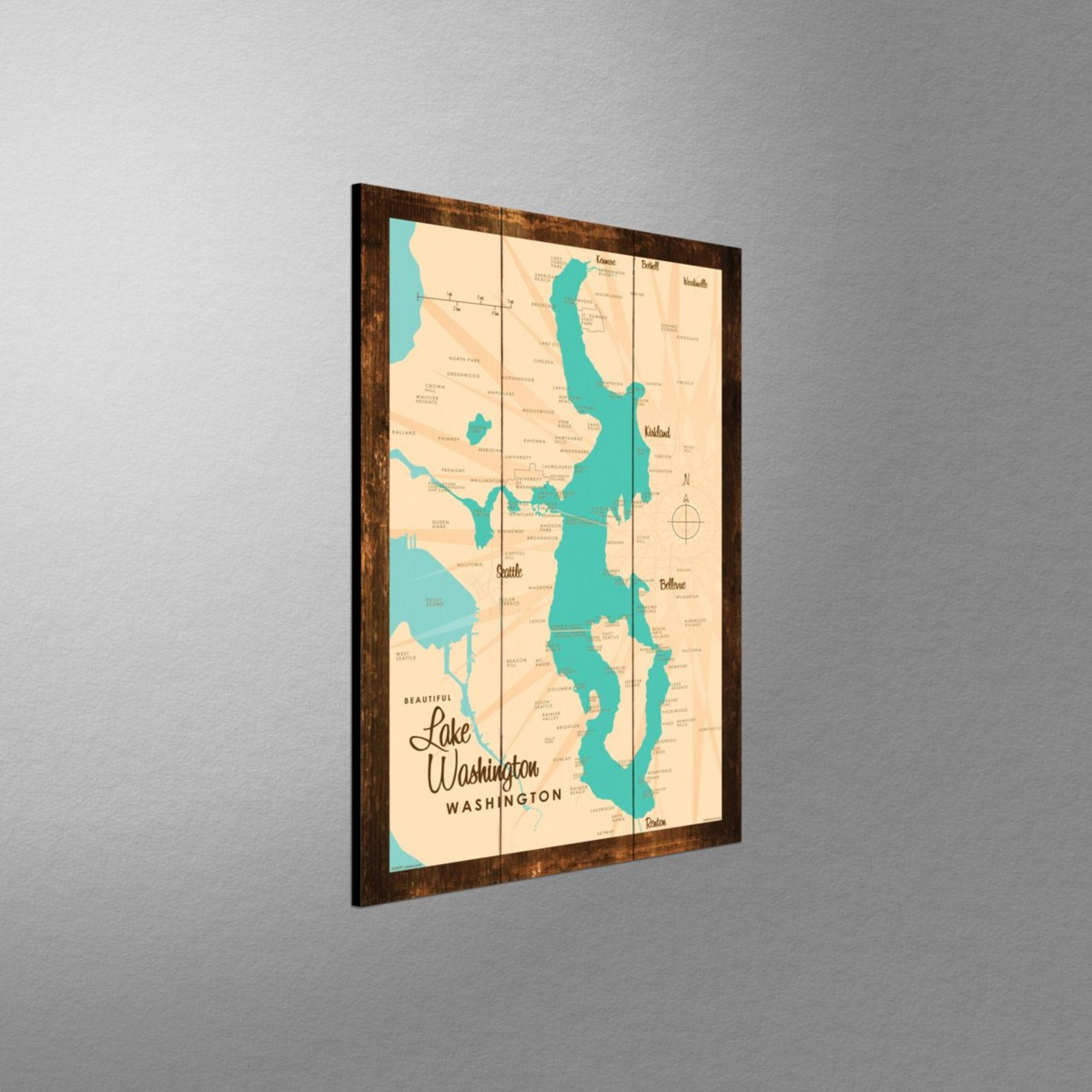 Lake Washington Washington, Rustic Wood Sign Map Art