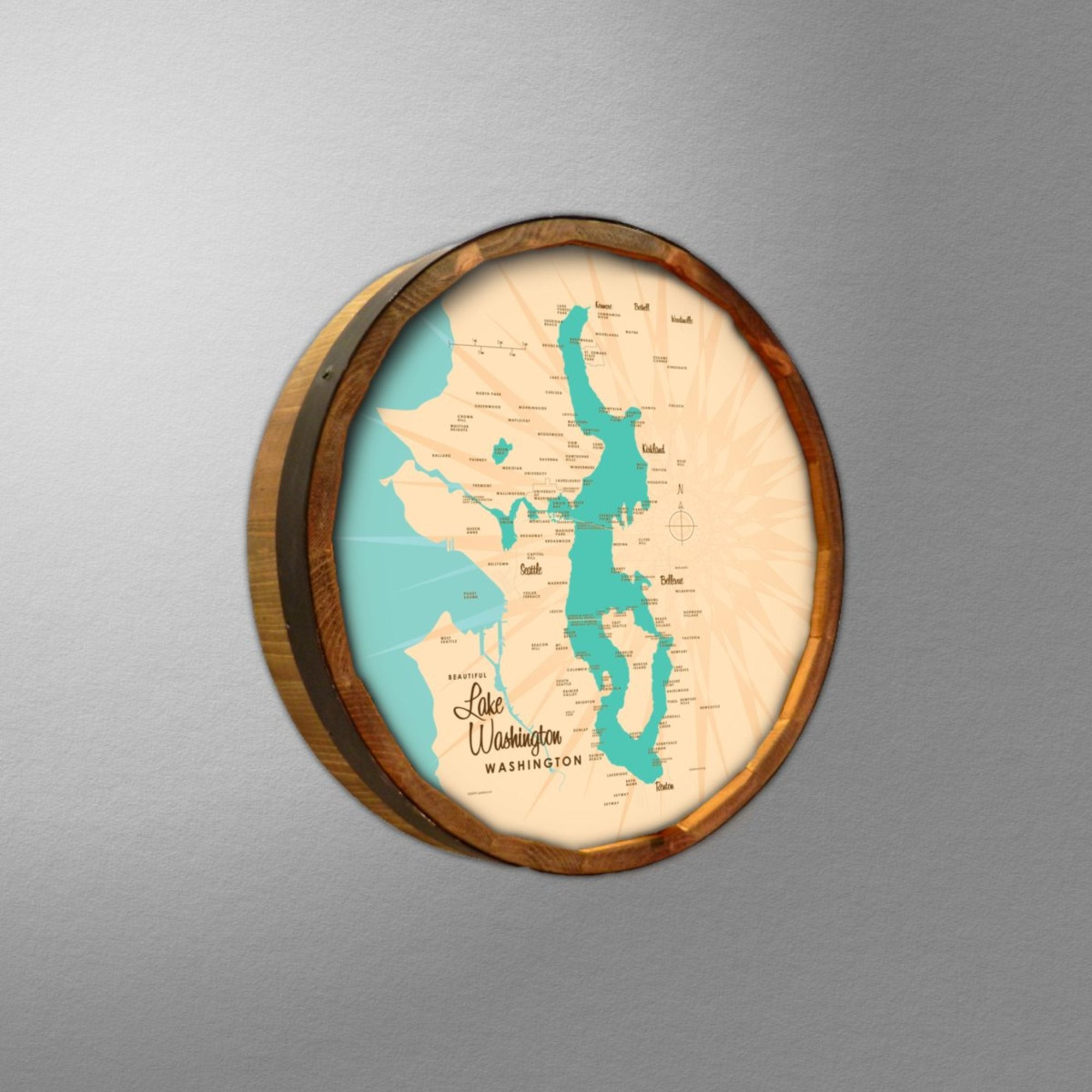 Lake Washington Washington, Barrel End Map Art