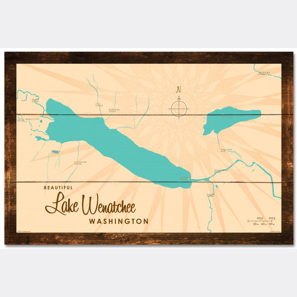 Lake Wenatchee Washington, Rustic Wood Sign Map Art