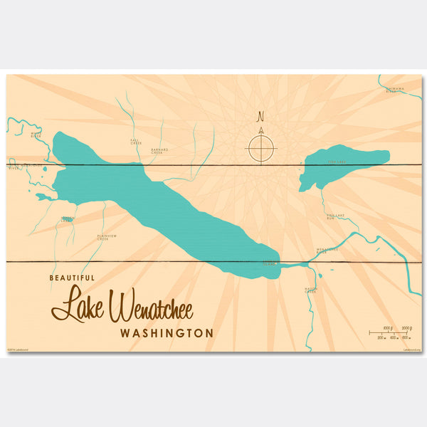 Lake Wenatchee Washington, Wood Sign Map Art