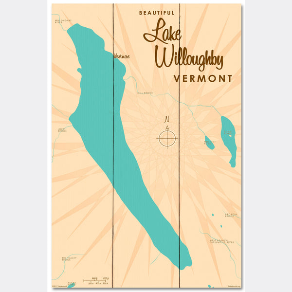 Lake Willoughby Vermont, Wood Sign Map Art