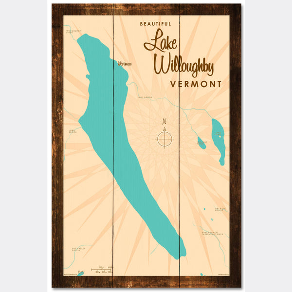 Lake Willoughby Vermont, Rustic Wood Sign Map Art