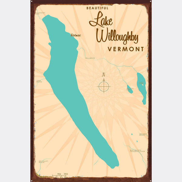 Lake Willoughby Vermont, Rustic Metal Sign Map Art
