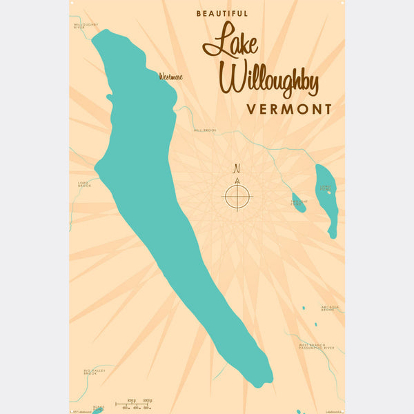 Lake Willoughby Vermont, Metal Sign Map Art