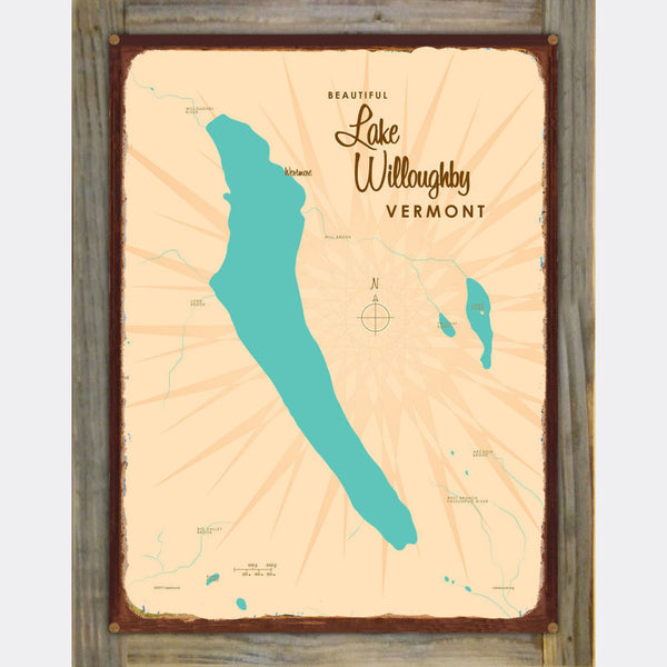 Lake Willoughby Vermont, Wood-Mounted Rustic Metal Sign Map Art