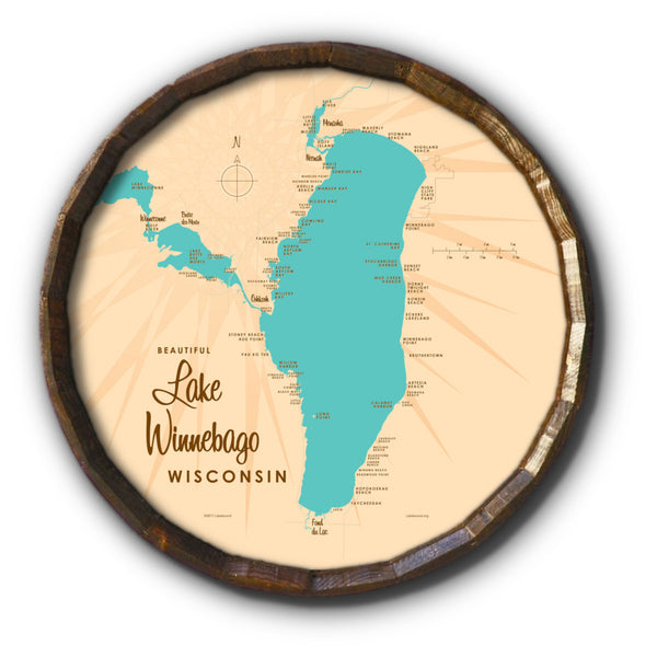 Lake Winnebago Wisconsin, Barrel End Map Art