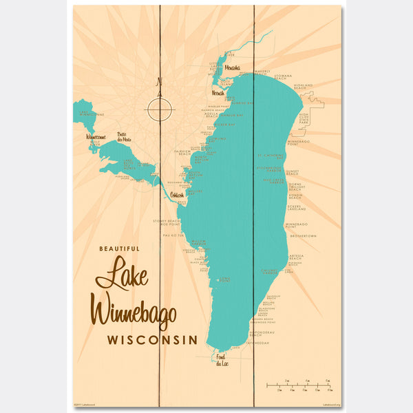Lake Winnebago Wisconsin, Wood Sign Map Art