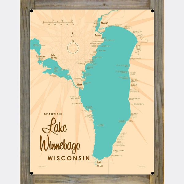 Lake Winnebago Wisconsin, Wood-Mounted Metal Sign Map Art