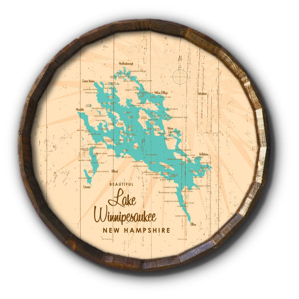 Lake Winnipesaukee New Hampshire, Rustic Barrel End Map Art