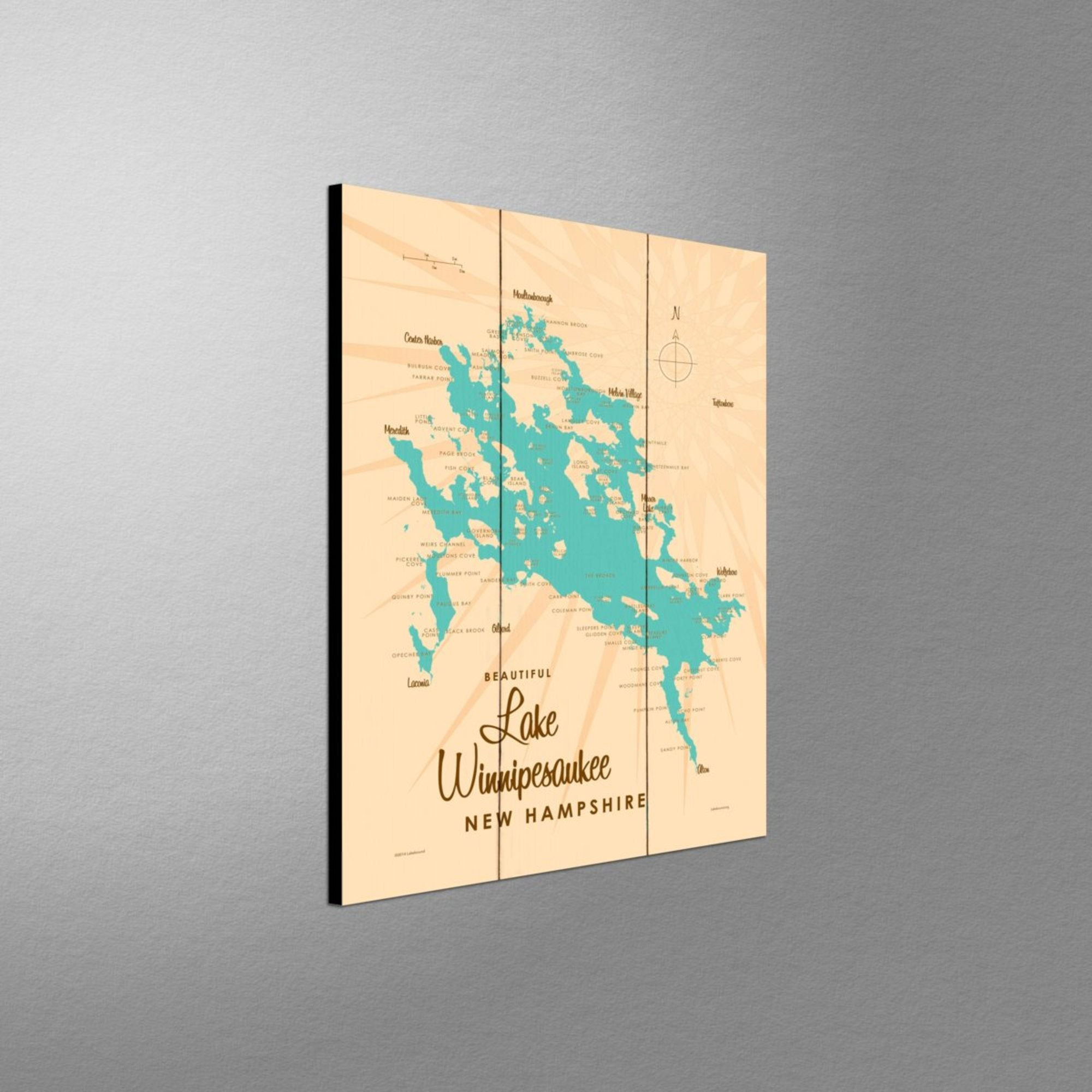 Lake Winnipesaukee New Hampshire, Wood Sign Map Art