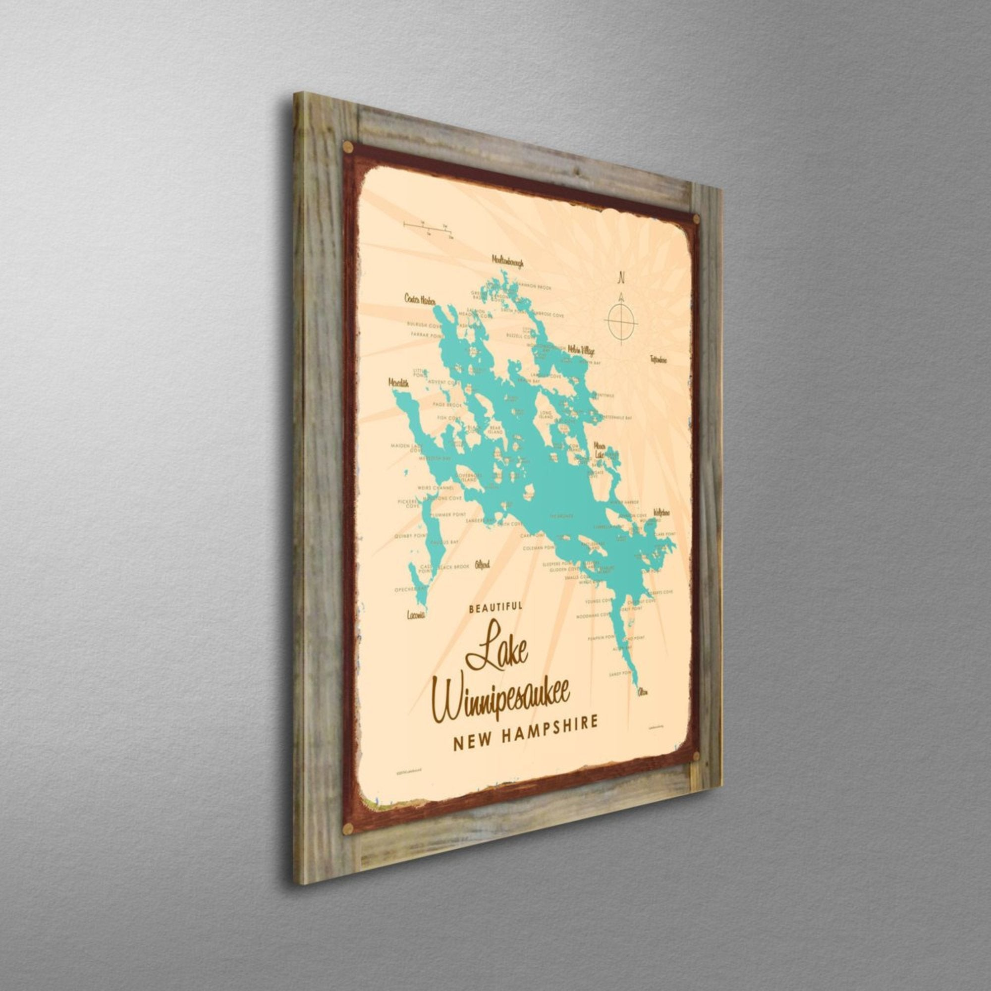 Lake Winnipesaukee New Hampshire, Wood-Mounted Rustic Metal Sign Map Art