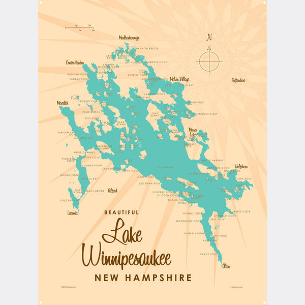 Lake Winnipesaukee New Hampshire, Metal Sign Map Art