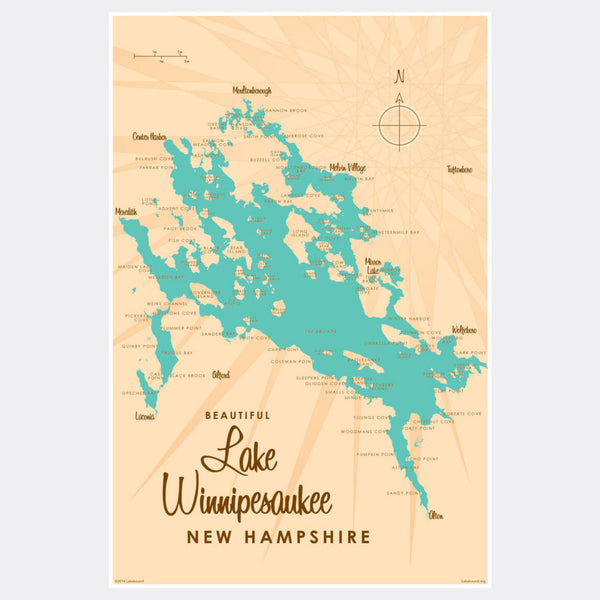 Lake Winnipesaukee New Hampshire, Paper Print