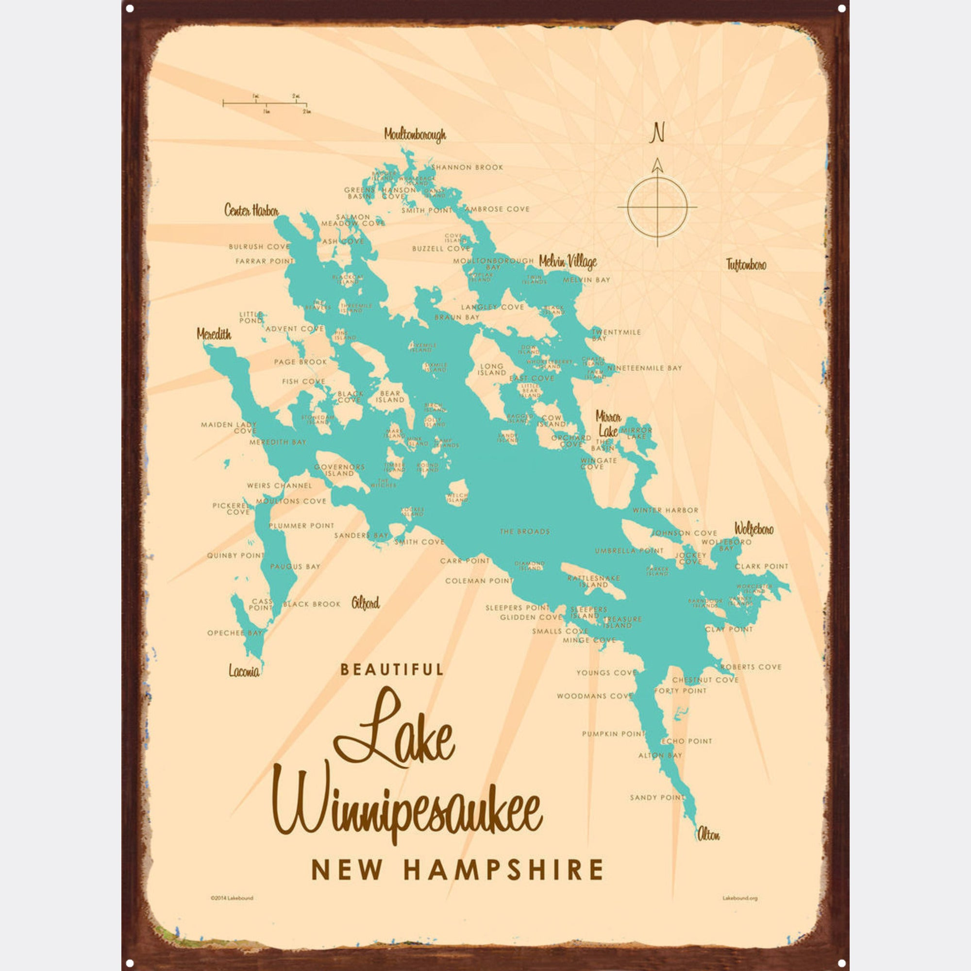 Lake Winnipesaukee New Hampshire, Rustic Metal Sign Map Art