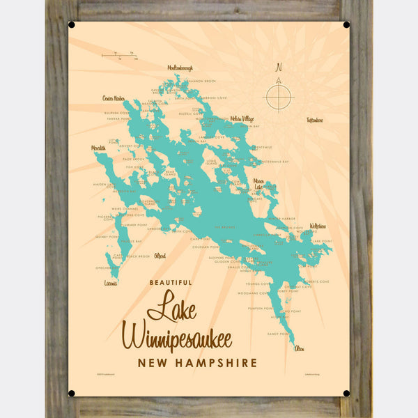 Lake Winnipesaukee New Hampshire, Wood-Mounted Metal Sign Map Art