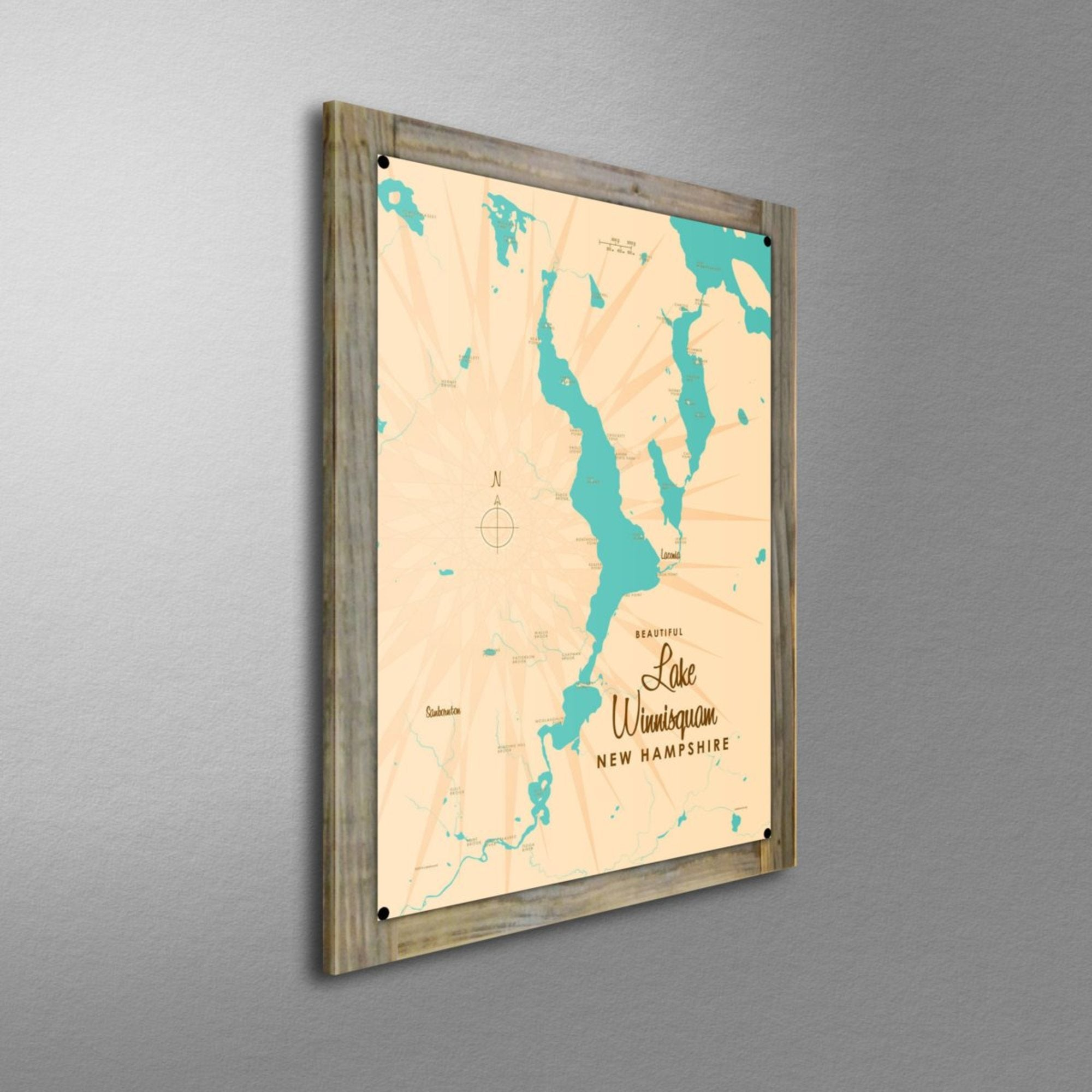 Lake Winnisquam New Hampshire, Wood-Mounted Metal Sign Map Art