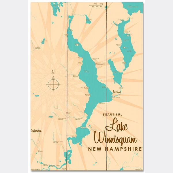 Lake Winnisquam New Hampshire, Wood Sign Map Art