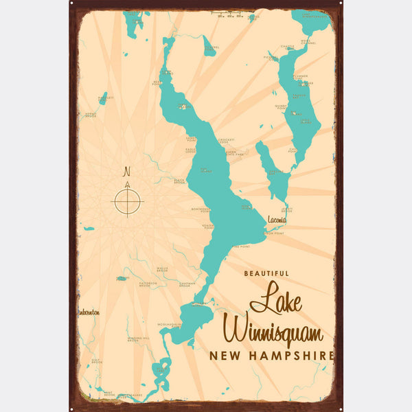 Lake Winnisquam New Hampshire, Rustic Metal Sign Map Art