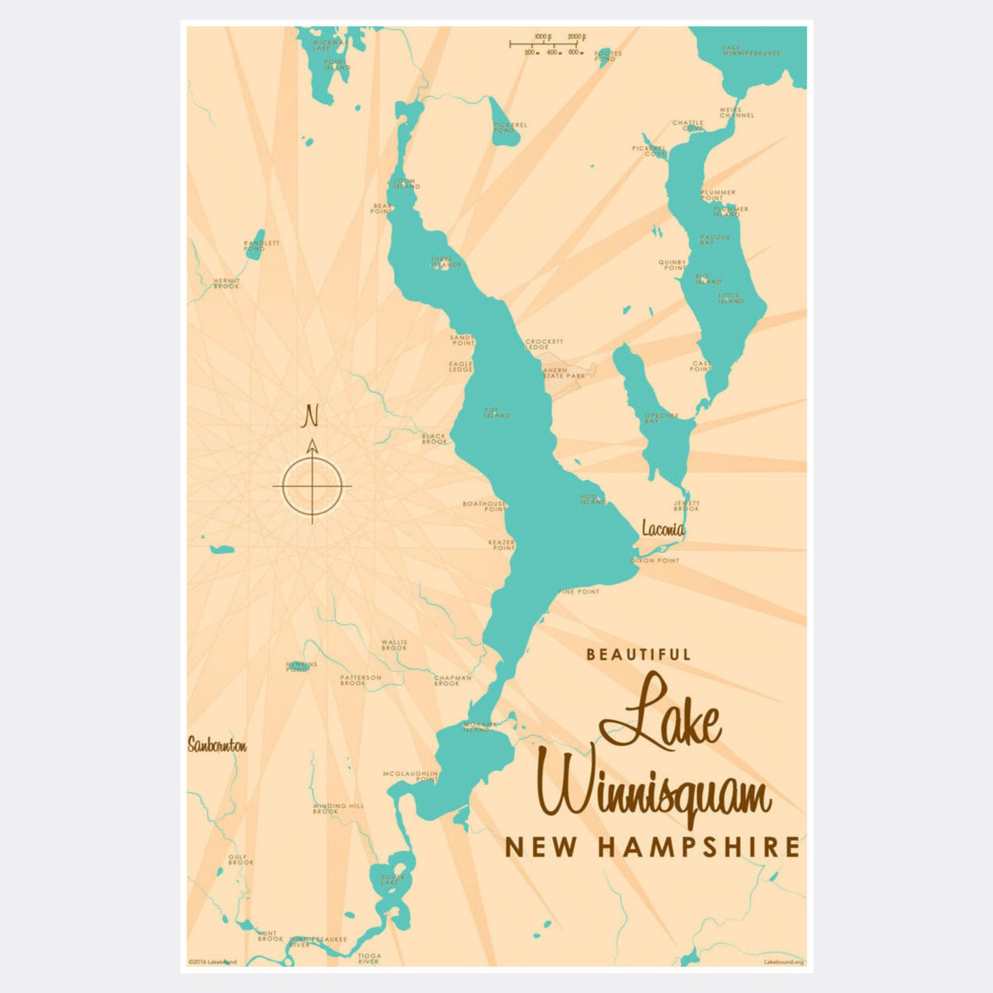 Lake Winnisquam New Hampshire, Paper Print