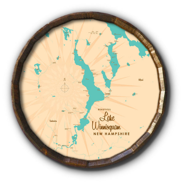 Lake Winnisquam New Hampshire, Barrel End Map Art