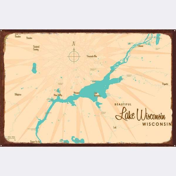 Lake Wisconsin Wisconsin, Rustic Metal Sign Map Art
