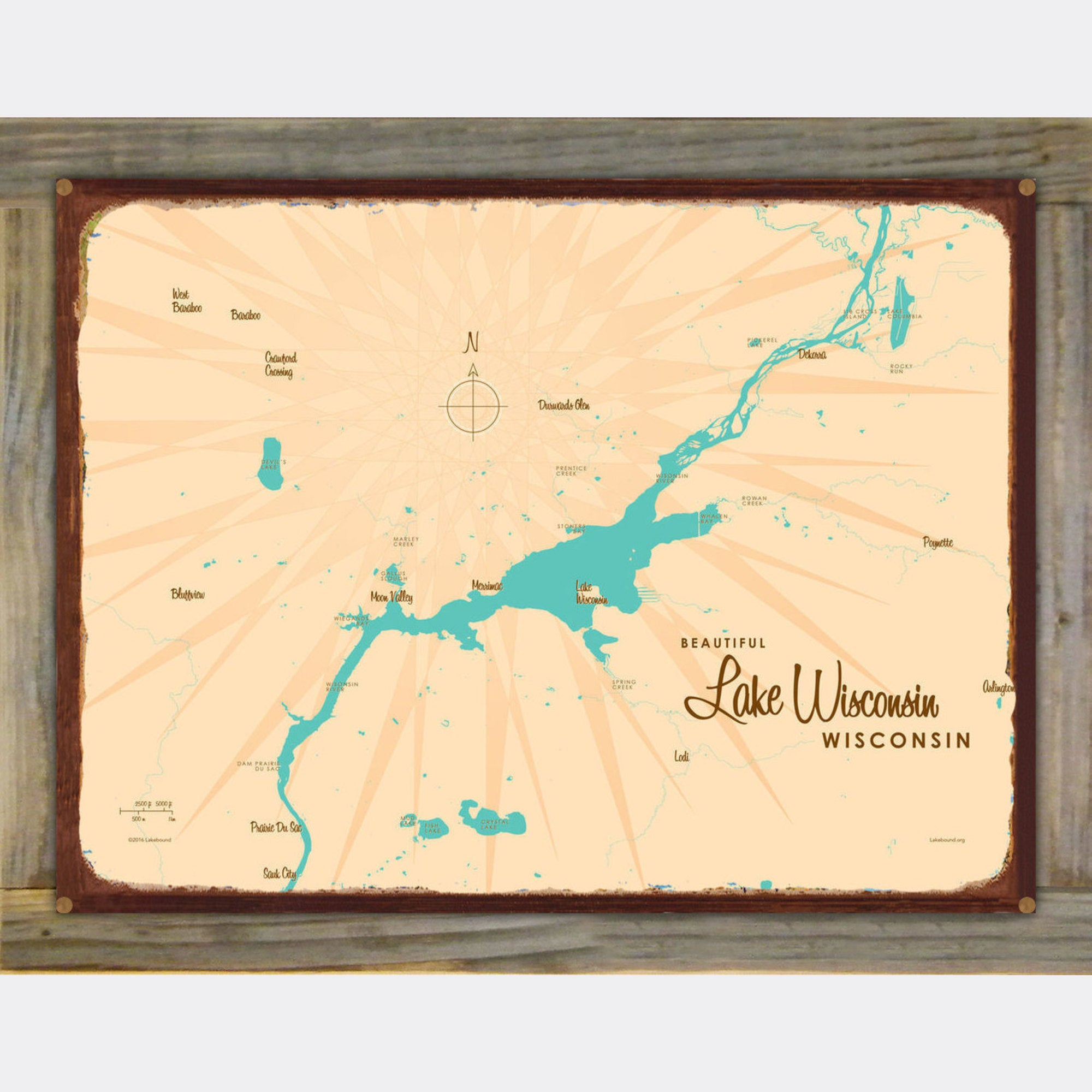 Lake Wisconsin Wisconsin, Wood-Mounted Rustic Metal Sign Map Art