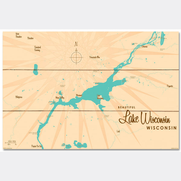 Lake Wisconsin Wisconsin, Wood Sign Map Art