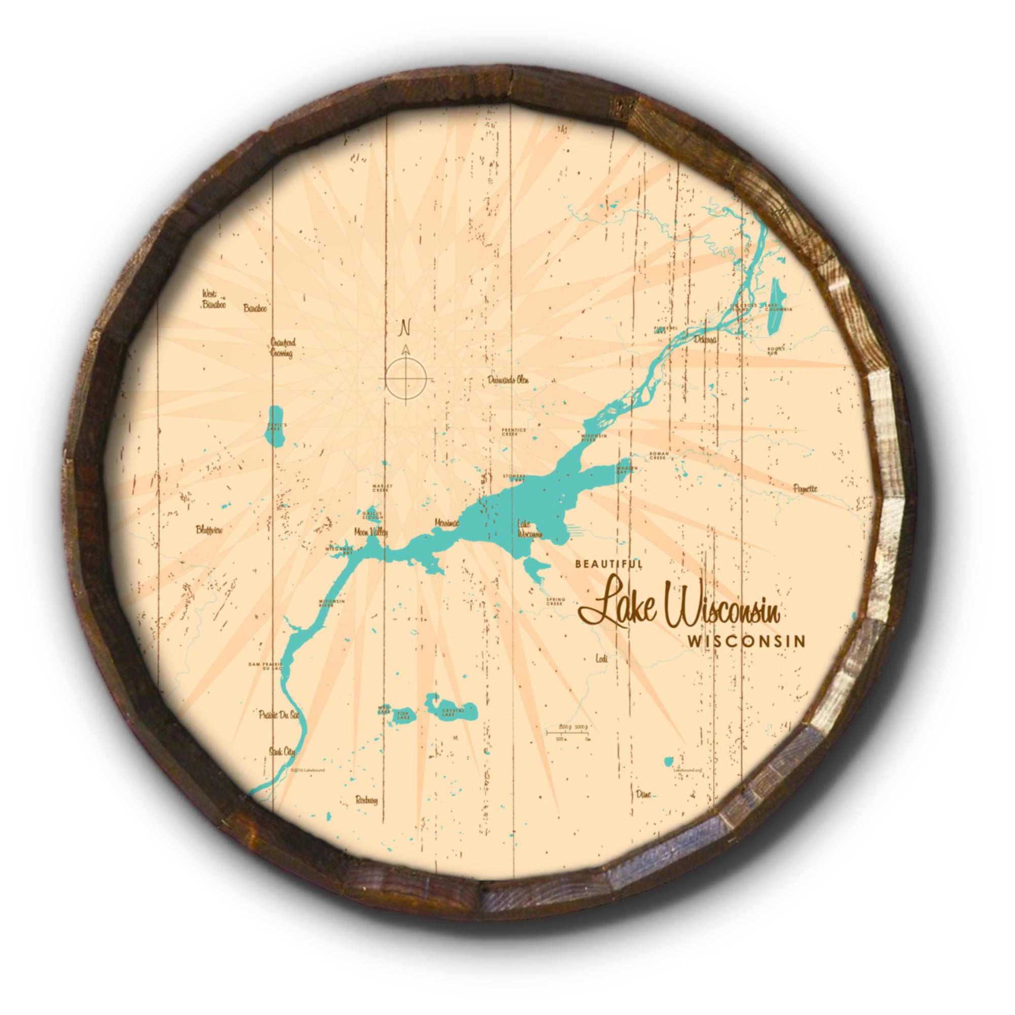 Lake Wisconsin Wisconsin, Rustic Barrel End Map Art