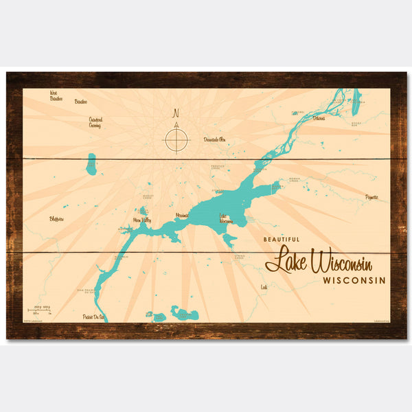Lake Wisconsin Wisconsin, Rustic Wood Sign Map Art
