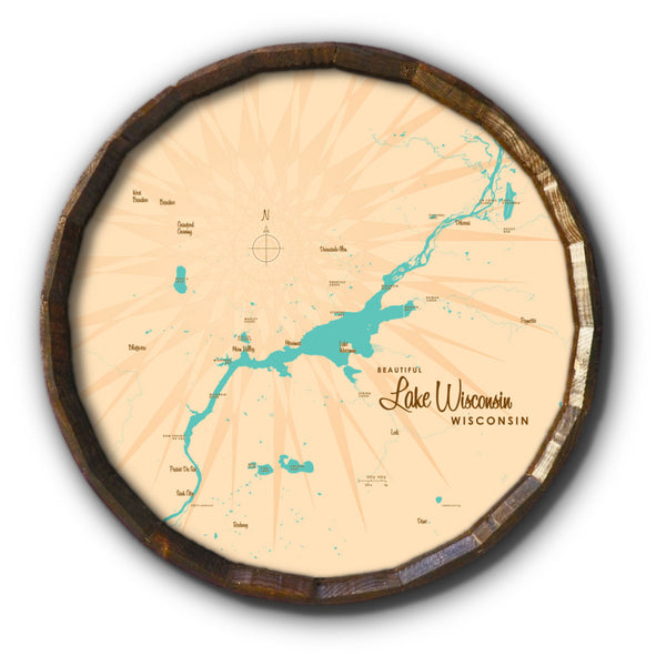 Lake Wisconsin Wisconsin, Barrel End Map Art