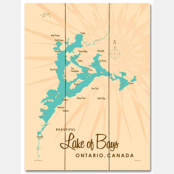 Lake of Bays Ontario, Wood Sign Map Art