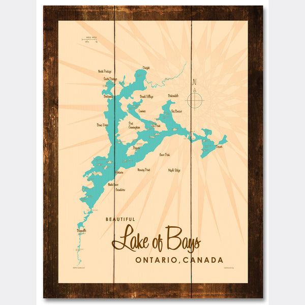 Lake of Bays Ontario, Rustic Wood Sign Map Art