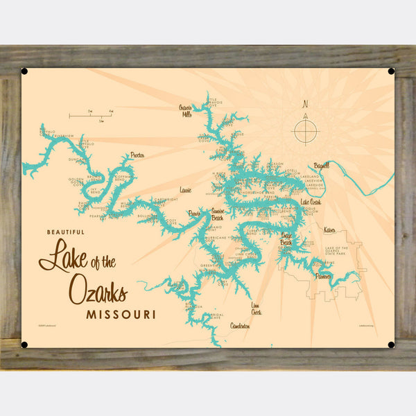 Lake of the Ozarks Missouri (with Mile Markers), Wood-Mounted Metal Sign Map Art