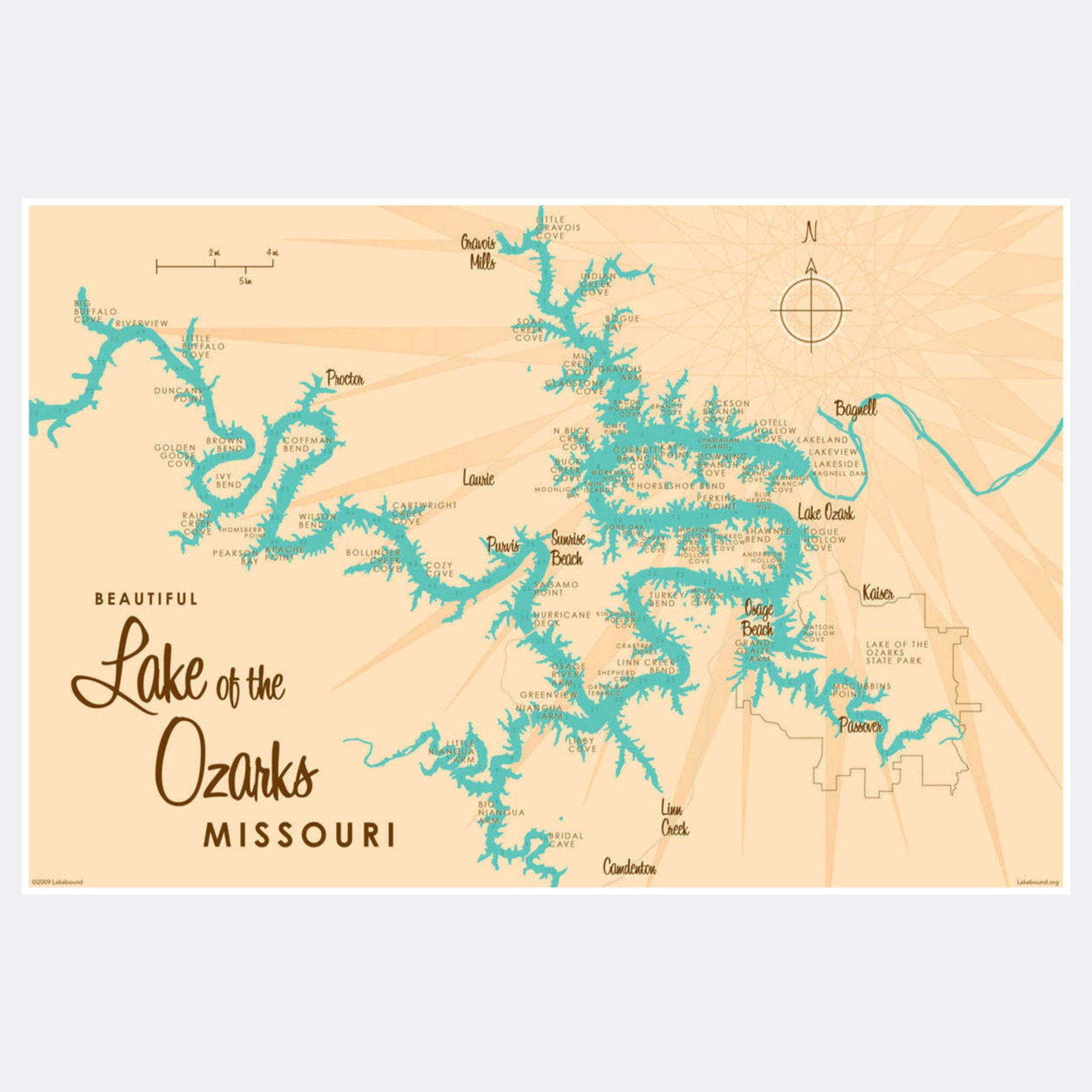 Lake of the Ozarks Missouri (with Mile Markers), Paper Print