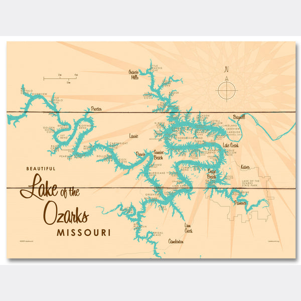 Lake of the Ozarks Missouri (with Mile Markers), Wood Sign Map Art