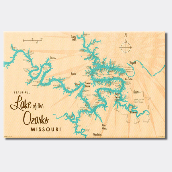 Lake of the Ozarks Missouri (with Mile Markers), Canvas Print