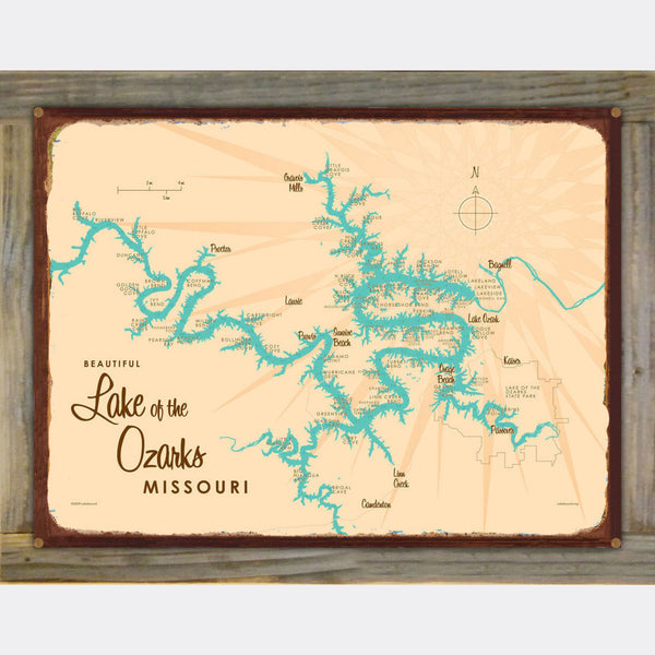 Lake of the Ozarks Missouri, Barrel End Map Art