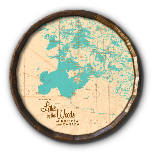 Lake of the Woods Minnesota, Rustic Barrel End Map Art