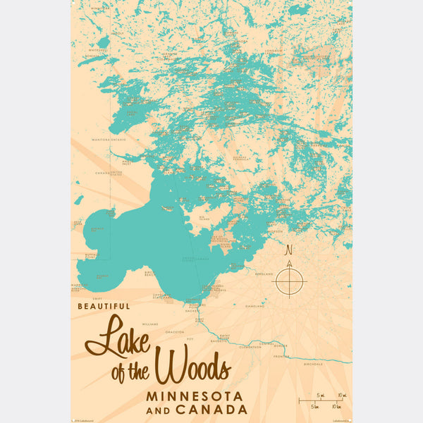 Lake of the Woods Minnesota, Metal Sign Map Art
