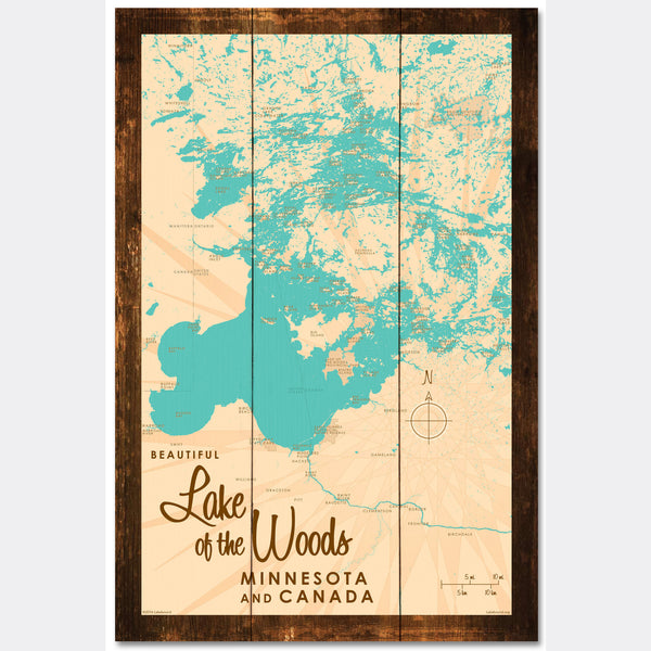 Lake of the Woods Minnesota, Rustic Wood Sign Map Art