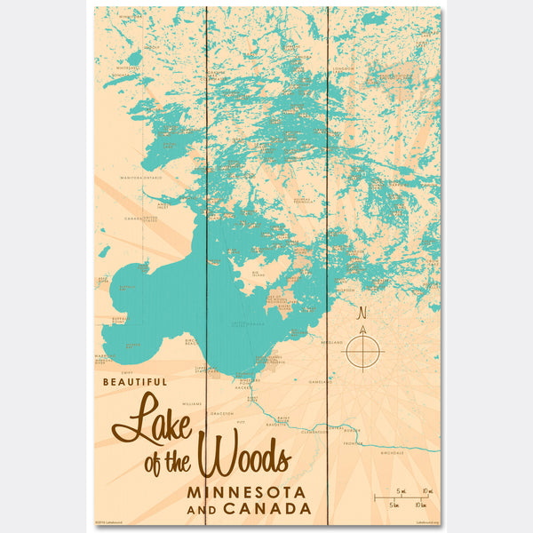 Lake of the Woods Minnesota, Wood Sign Map Art