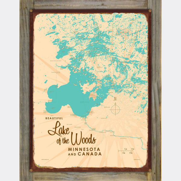 Lake of the Woods Minnesota, Wood-Mounted Rustic Metal Sign Map Art