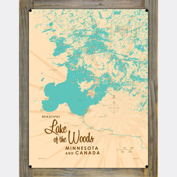 Lake of the Woods Minnesota, Wood-Mounted Metal Sign Map Art