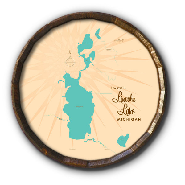 Lincoln Lake Michigan, Barrel End Map Art