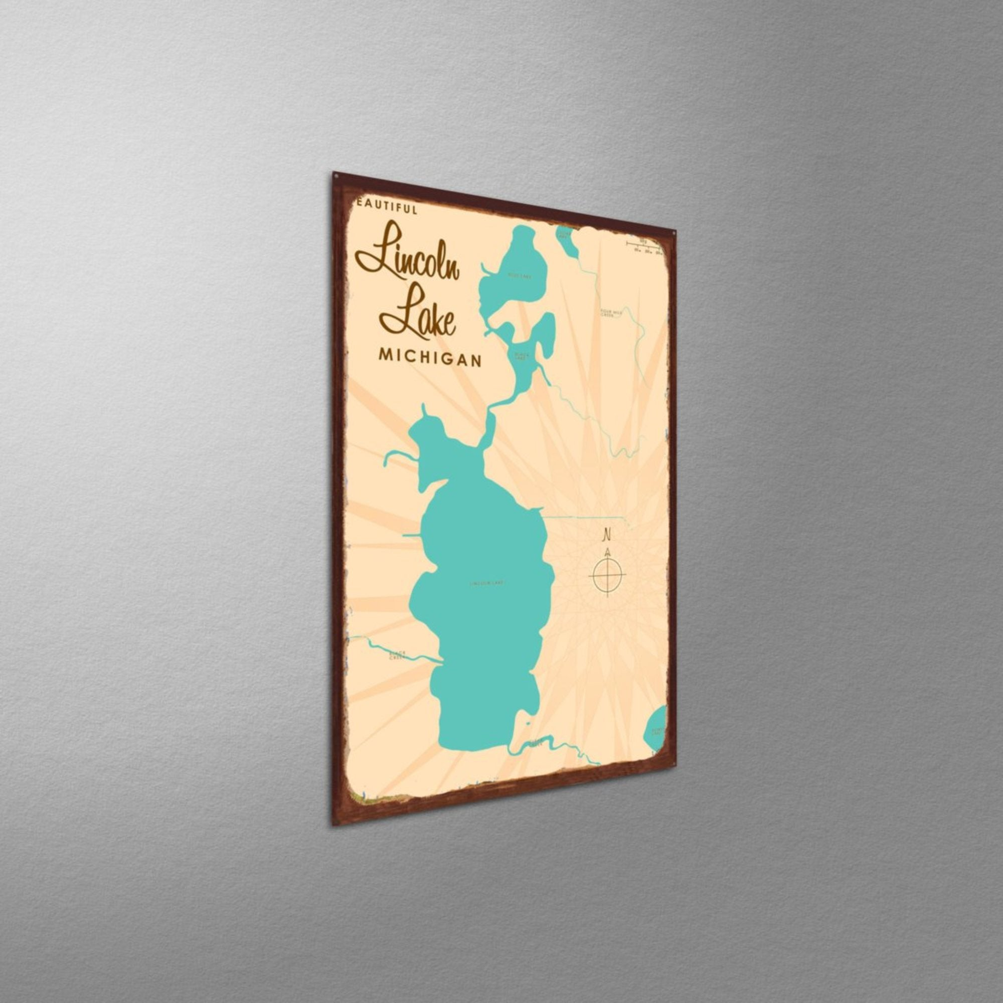 Lincoln Lake Michigan, Rustic Metal Sign Map Art
